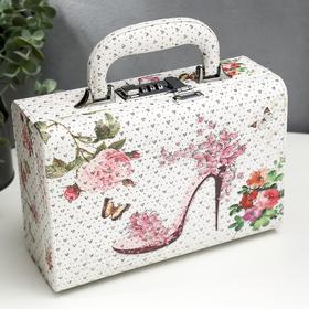 "Шкатулка кожзам для украшений чемодан ""Цветочная туфелька"" блёстки 9,5х24х16,5 см"