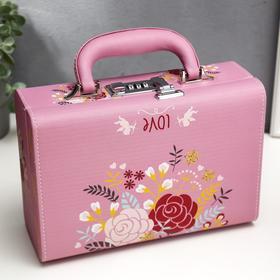 "Шкатулка кожзам для украшений чемодан ""Нарисованные цветы"" 9,5х24х16,5 см"