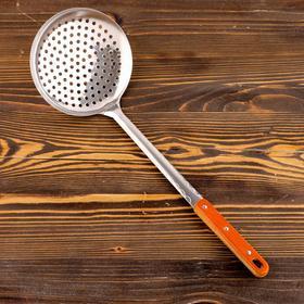 Шумовка для казана узбекская 43см, диаметр 16см, с деревянной ручкой