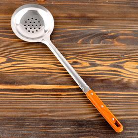 Шумовка для казана узбекская 45см, диаметр 12см, с деревянной ручкой