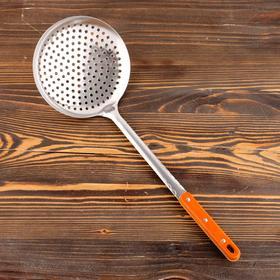 Шумовка для казана узбекская 48см, диаметр 17см, с деревянной ручкой