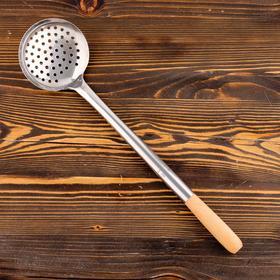 Шумовка для казана узбекская 47см, диаметр 12см, светлая деревянная ручка