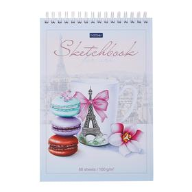 """Блокнот А5, 80 листов на гребне SketchBook """"Сладкий Париж"""", картонная обложка, твёрдая подложка, блок 100 г/м2"""