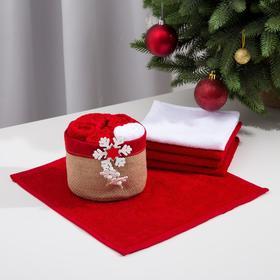 Набор полотенец в корзинке Этель «Снежинка» 30х30 см-5 шт