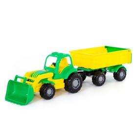 Трактор с прицепом №1 и ковшом «Крепыш», цвета МИКС