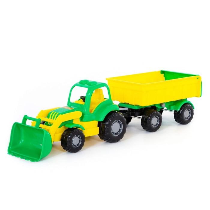 Трактор с прицепом №1 и ковшом «Крепыш», цвета МИКС - фото 105650053