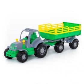 Трактор с прицепом №2 «Крепыш», цвета МИКС