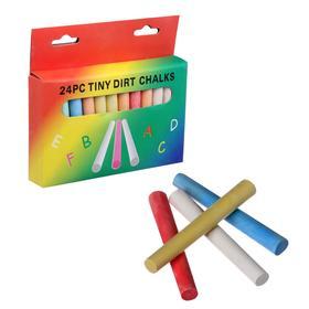 Мел школьный цветной 24 шт(6цв*4шт)  круглый беспыльный в картонной коробке