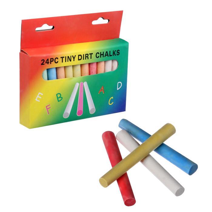Мел школьный цветной 24 шт(6цв*4шт)  круглый беспыльный в картонной коробке - фото 7403101