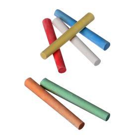 Мел школьный цветной 24 шт(6цв*4шт)  круглый беспыльный в картонной коробке - фото 7403102