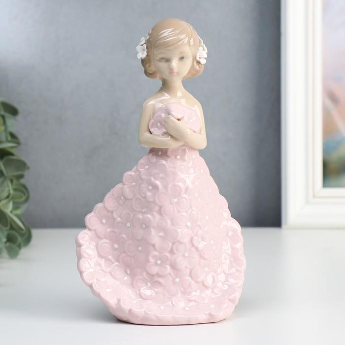 """Сувенир керамика """"Девочка в платье с розовыми цветами"""" 19х6,3х11 см - фото 2020773"""