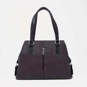 Сумка, отдел на молнии, наружный карман, цвет коричневый/чёрный