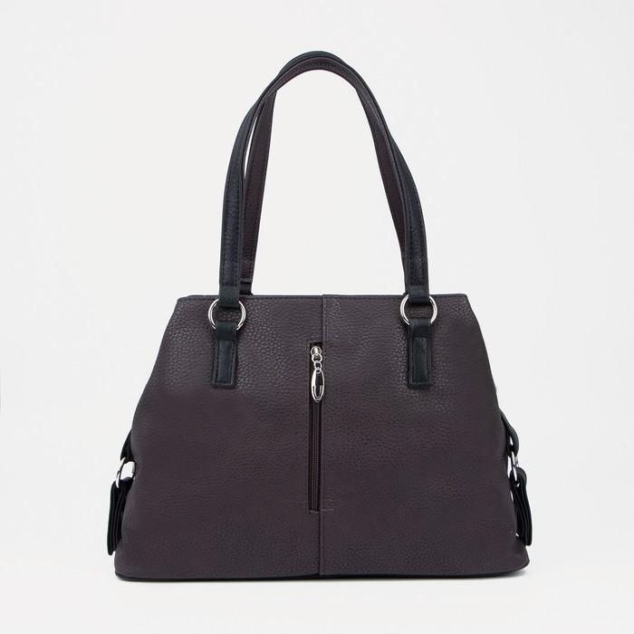 Сумка, отдел на молнии, наружный карман, цвет коричневый/чёрный - фото 763640