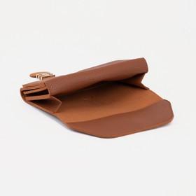 Кошелёк женский, 2 отдела на клапане, цвет коричневый - фото 57052