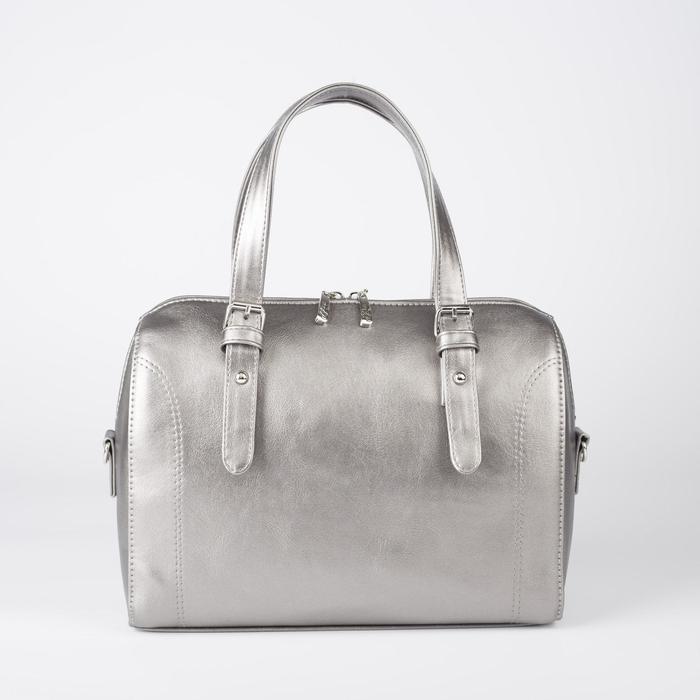 Сумка женская, отдел на молнии, наружный карман, длинный ремень, цвет серебристый - фото 763765