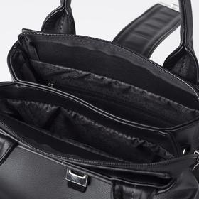 Сумка женская, 2 отдела на молнии, наружный карман, длинный ремень, цвет чёрный - фото 54284