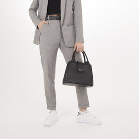 Сумка женская, 2 отдела на молнии, наружный карман, длинный ремень, цвет чёрный - фото 54285