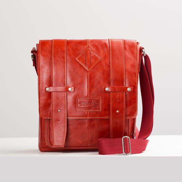 Сумка мужская, отдел на молнии, 3 наружных кармана, длинный ремень, цвет красный - фото 763817