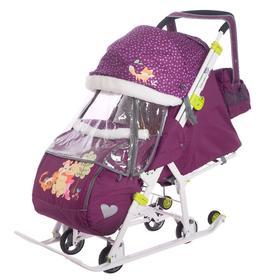 Санки-коляска «Baby 2. Медвежонок Винни и его друзья», цвет баклажановый