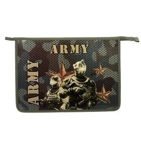 """Папка для тетрадей А4, молния сверху, объемный рисунок """"Армия"""" (ламинированный картон)"""