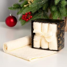 "Набор махровых полотенец ""Merry cristmas"" 30х30 см - 3 шт, хлопок 340гр/м2"
