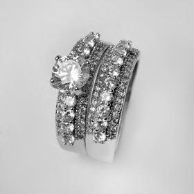 """Кольцо """"Богатство"""", цвет белый в серебре, размер 19"""