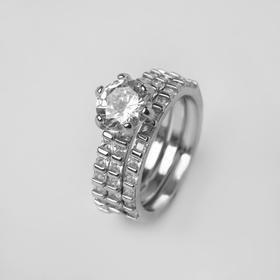 """Кольцо """"Богатство"""" крупный кристалл, цвет белый в серебре, размер 17"""
