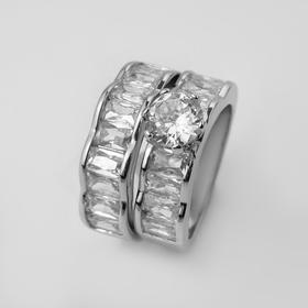 """Кольцо """"Богатство"""" два ряда, цвет белый в серебре, размер 19"""