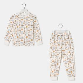 Пижама «Звери» для девочки, цвет белый, рост 116 см