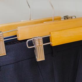 Вешалка для брюк и юбок с зажимами, 27,5×11,5 см, цвет светлое дерево - фото 4642578