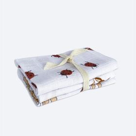 Муслиновые салфетки, принт божьи коровки, листья, цветы 25x25 см, 3 шт в наборе