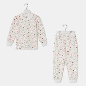 Пижама для девочки, цвет белый, рост 110 см