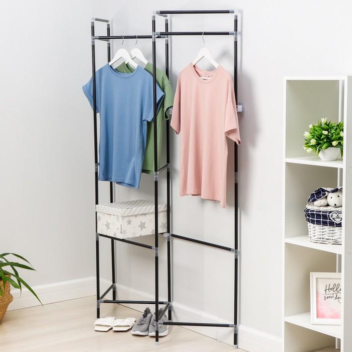 Стойка для вещей с креплением к стене Доляна, 117×32×172 см, цвет чёрный - фото 4639816