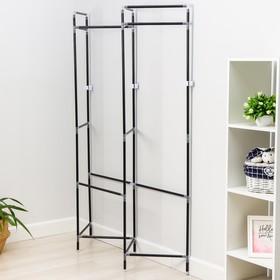 Стойка для вещей с креплением к стене Доляна, 117×32×172 см, цвет чёрный - фото 4639817