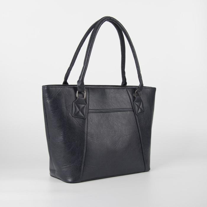 Сумка женская, отдел на молнии, наружный карман, длинный ремень, цвет синий - фото 51585