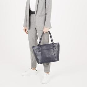 Сумка женская, отдел на молнии, наружный карман, длинный ремень, цвет синий - фото 51588