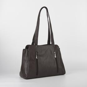 Women's bag L-9376, otd with zipper, 3 n / pockets, belt length, brown