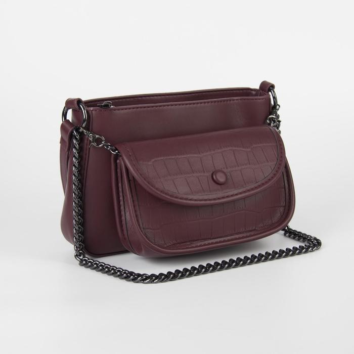 Сумка женская, отдел на молнии, наружный карман, длинный ремень, цвет бордовый - фото 764202