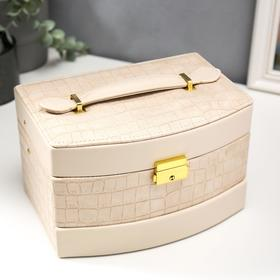 """Box of leatherette for jewelry """" Cream. Gloss and Python """" 13x21, 5x15 cm"""