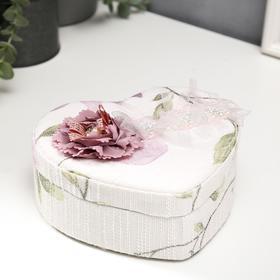 """Шкатулка текстиль для украшений сердце """"Цветок, цвета пыльной розы"""" 7х15,5х18 см"""
