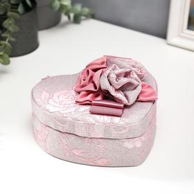 "Шкатулка текстиль для украшений сердце ""Цветы с лентой"" 7х15,5х18 см"