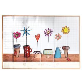 "Sticker on the tile ""flowers in pots"" 60x90 cm"