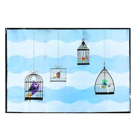 """Sticker on the tile """"Birds in cages"""" 60x90 cm"""