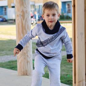Свитшот для мальчика, цвет серый меланж, рост 116 см