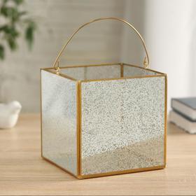 """Florarium """"Square"""" with handle, 15x15x15 cm, gold"""