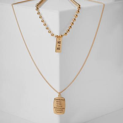 "Double ""Chain"" steel pendant, rectangles, gold color, 70 cm"