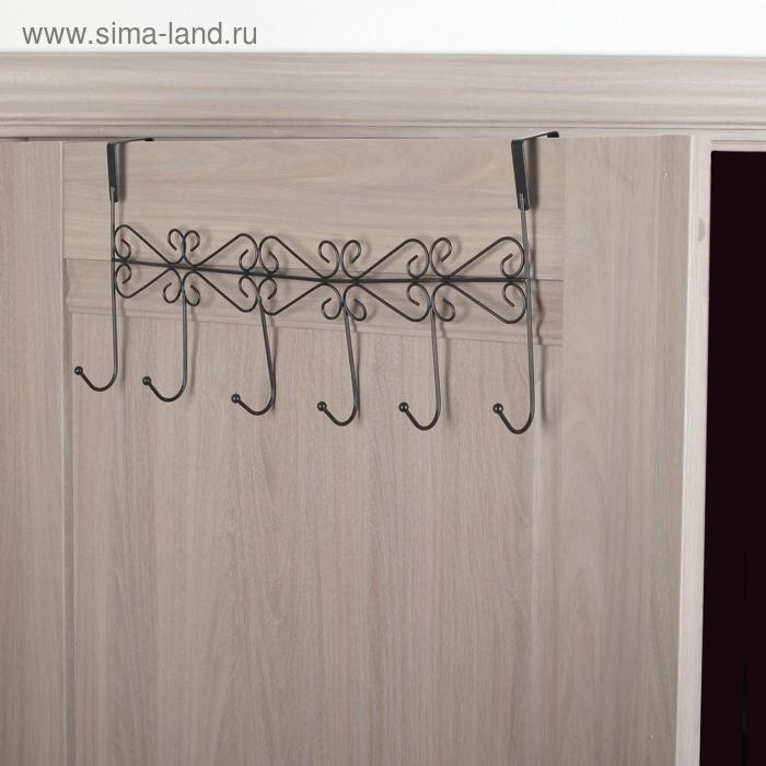 """Hanger for 6 hooks """"Monogram"""", 47×22.5×10 cm, color black"""