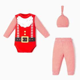 """Набор: боди, штанишки и шапочка Крошка Я """"Санта"""", рост 62-68 см"""