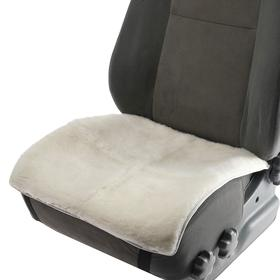 Front seat cover, natural wool, short pile, white