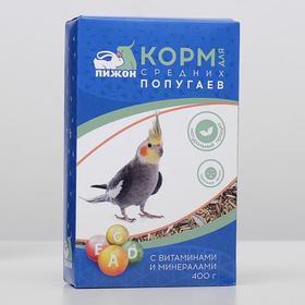 """Корм """"Пижон"""" для средних попугаев, с витаминами и минералами, 400 г"""
